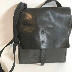 PROPERTY OF  black leather & canvas crossbody bag